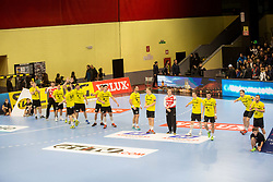RK Gorenje Velenje players during handball match between RK Gorenje Velenje and Kadetten Schaffhausen in VELUX EHF Champions League, on November 25, 2017 in Rdeca Dvorana, Velenje, Slovenia. Photo by Ziga Zupan / Sportida