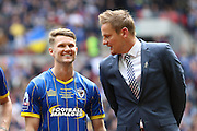 Jake Reeves midfielder for AFC Wimbledon (8) and AFC Wimbledon Manager Neal Ardley before the Sky Bet League 2 play off final match between AFC Wimbledon and Plymouth Argyle at Wembley Stadium, London, England on 30 May 2016. Photo by Stuart Butcher.