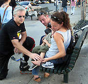"""**EXCLUSIVE**.Tim Robbins ignoring City Park's Playground Rules that Prohibits """"Roller Skates"""" and Adults without children was playing """"Roller Skate Hockey"""" with his male friends at William F. Passannante Ballfield Public Park..While a Mother was waiting at the bus stop with her son, the ball pass trough the fence and hit the boy's foot, he was crying, so Tim rushed out of the Park to take care of the little boy, one of Tim's teammates rushed inside a local grocery store and brought ice in a black bag. Tim attended to the boy by putting ice on his foot and verifying that it wasn't broken. Be on the look out for a lawsuit..West Village.New York City, NY, USA .Sunday, September 23, 2007.Photo By Celebrityvibe.com.To license this image call (212) 410 5354 or;.Email: celebrityvibe@gmail.com; ."""