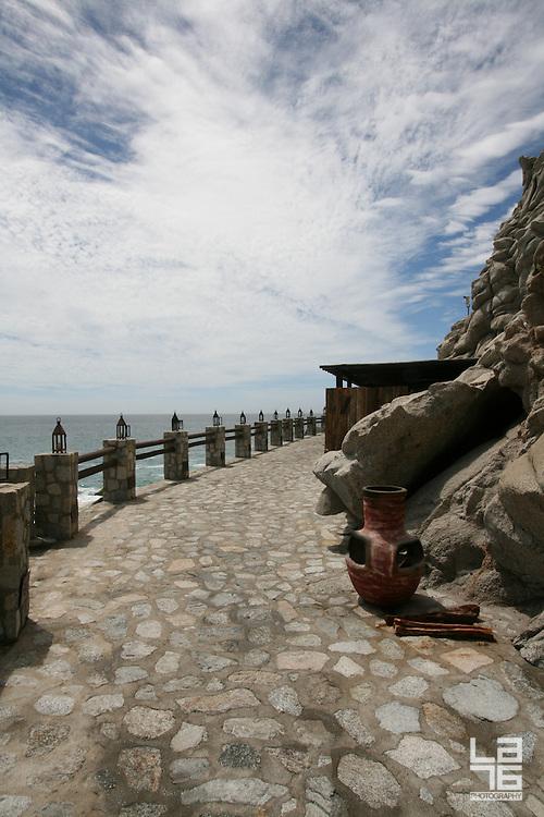 Exterior decoration of El Farallon, Cliffside seafood grill restaurant at Capella Pedregal Hotel & Resort in Cabo San Lucas, Baja California Sur, Mexico.