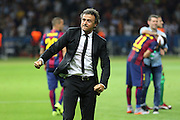 Barcelona Manager Luis Enrique celebrates during the Champions League Final between Juventus FC and FC Barcelona at the Olympiastadion, Berlin, Germany on 6 June 2015. Photo by Phil Duncan.