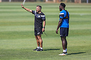 Forest Green Rovers manager, Mark Cooper and Forest Green Rovers Manny Monthe(6) during the Forest Green Rovers Training session at Browns Sport and Leisure Club, Vilamoura, Portugal on 25 July 2017. Photo by Shane Healey.