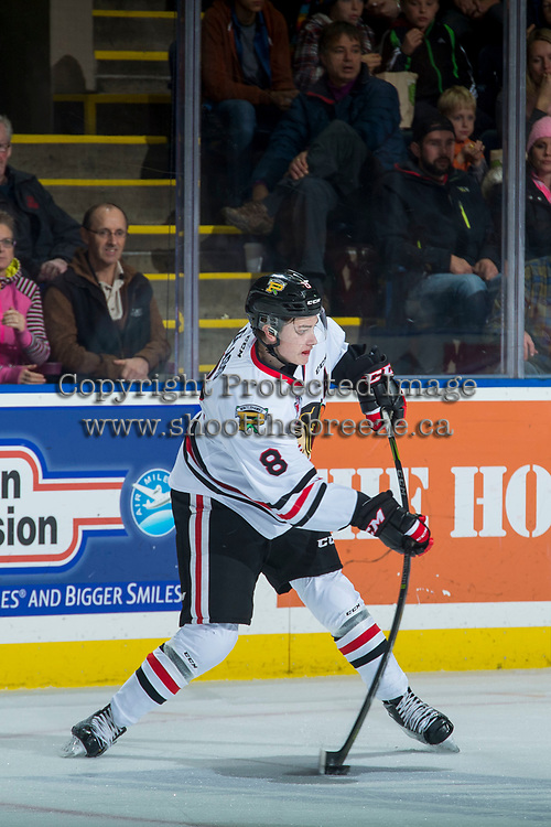 KELOWNA, CANADA - OCTOBER 21: Cody Glass #8 of the Portland Winterhawks takes a shot from the point against the Kelowna Rockets on October 21, 2017 at Prospera Place in Kelowna, British Columbia, Canada.  (Photo by Marissa Baecker/Shoot the Breeze)  *** Local Caption ***