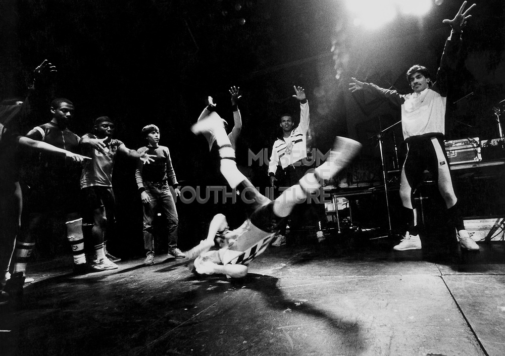 Breakdancers on stage at UK Fresh event,  London, UK, 1986