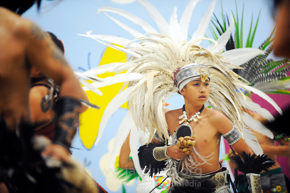 "Young Eduardo Rubio dances during Yaocuauhtli's sixth annual gathering called ""Day of Indigenous Resistance."" Held as a deliberate counterpoint to Columbus Day, which is also sometimes called ""Day of the Races,"" or ""Hispanic Day,"" the event on October 11th, 2012 was meant to highlight long-standing New World traditions, saying ""We are Aztecas, Zapotecas, Mexicas, Toltecas, Huicholes, Trikis, Mayas, Incas, Tarahumara, etc,"" and encouraging everyone to express pride in their pre-Colombian identities."