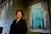 3/17/15 10:27:26 AM -- Middleburg, VA, U.S.A  -- Sheila C. Johnson at the spa her Salamander Resort and Spa where one of her scarfs hangs like a work of art.  The scarf features a photograph she took in Haiti.  Photo by H. Darr Beiser, USA TODAY staff ORG XMIT:  HB 132765  3/17/2015 [Via MerlinFTP Drop]