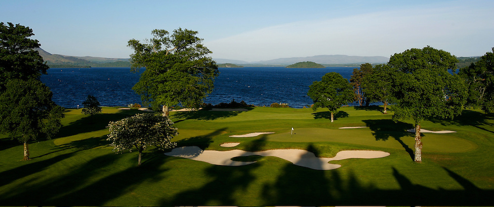 Loch Lomond,left is 7th green and right / middle 8th par 3 during summer,Loch Lomond, Luss by Alexandria,Dumbartonshire,Scotland.