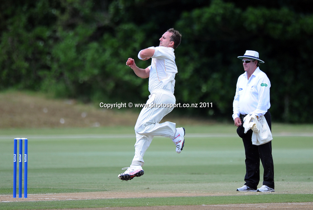 Wellington's Mark Gillespie bowling during the Ford Trophy Cricket match between Auckland and Wellinton at Colin Maiden Oval in Auckland, New Zealand on Monday 27 February 2012. Photo: Andrew Cornaga/Photosport.co.nz