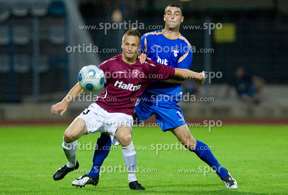 Henri Toivomaki and Bojan Dukic at 1st football match of 2nd preliminary Round of UEFA Europe League between ND Gorica and FC Lahti, on July 16 2009, in Nova Gorica, Slovenia. (Photo by Vid Ponikvar / Sportida)