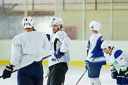 Jan Urbas, Anze Kopitar, NHL star and player of Los Angeles Kings, Tomaz Razinger and David Rodman during practice session and press conference before Kopitar's departure to USA, on September 3, 2014 in Ledna dvorana Bled, Slovenia. Photo by Vid Ponikvar  / Sportida.com