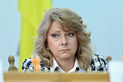 March 28, 2019 - Kyiv, Ukraine - CEC member Tetiana Yuzkova partakes in a briefing on the interim financial statements provided by presidential candidates ahead of the March 31 election and their analysis, Kyiv, capital of Ukraine, March 28, 2019. Ukrinform. (Credit Image: © Danil/Ukrinform via ZUMA Wire)