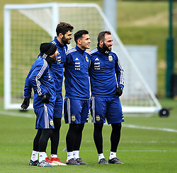 Argentina's Lionel Messi with teammates Federico Fazio and Gonzalo Higuain- Mandatory by-line: Matt McNulty/JMP - 21/03/2018 - FOOTBALL - Argentina - Training session ahead of international against Italy