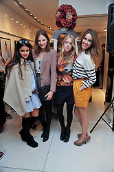Left to right, BIP LING, SARA BLOMVQUIST, MARY CHARTERIS and SUNDAY GIRL Jade Williams at the Mother of Pearl Launch at The Other Criteria, 36 New Bond Street, London W1 on 12th April 2011.