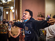 15 JUNE 2020 - DES MOINES, IOWA: MATTHEW BRUCE, a leader of Black Lives Matter in Des Moines, leads a protest in front of the Governor's Reception Room the Iowa capitol in Des Moines. About 75 supporters of Black Lives Matter marched through the Iowa capitol Monday to demand the restoration of voting rights for felons who have completed their sentences. Iowa is one of only two states in the US that permanently strip felons of voting rights. The issue is a  racial one in Iowa. Blacks make up only 4 percent of the population but 25 percent of the prison population. The Governor agreed to meet with a delegation of the protesters but she would not commit to immediately restoring voting rights. She said would draft an executive order to restore voting rights later in the summer.    PHOTO BY JACK KURTZ