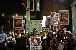 April 12, 2017 - Lima, Peru - Demonstration against the decision of the Constitution Commission to eliminate the protection of GLBTI persons against hate crimes and crimes of discrimination, in Lima, Peru, April 12, 2017. (Credit Image: © Renzo Salazar/NurPhoto via ZUMA Press)