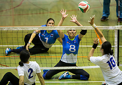 Danica Gosnak of Slovenia vs Xu Jie of China during friendly Sitting Volleyball match between National teams of Slovenia and China, on October 22, 2017 in Sempeter pri Zalcu, Slovenia. (Photo by Vid Ponikvar / Sportida)