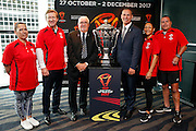 Nicole Manihera, NZ Sport and recreation minister Hon Dr Jonathan Coleman, Sir Peter Leitch, RLWC 2017 CEO Andrew Hill, Ane Chan and Jim Doolan, RLWC 2017 community ambassador annoumcenet press conference. Sky City, Auckland. 3 February 2017. Copyright Image: William Booth / www.photosport.nz