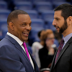 Apr 3, 2019; New Orleans, LA, USA;  New Orleans Pelicans head coach Alvin Gentry talks with Charlotte Hornets head coach James Borrego following a game at the Smoothie King Center. Mandatory Credit: Derick E. Hingle-USA TODAY Sports