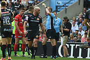 Exeter Chiefs fly-half Henry Slade (13) is shown a yellow card, sin binned during the Gallagher Premiership Rugby Final match between Exeter Chiefs and Saracens at Twickenham, Richmond, United Kingdom on 1 June 2019.