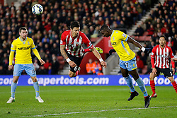Yannick Bolasie of Crystal Palace heads clear from Jose Fonte of Southampton - Photo mandatory by-line: Rogan Thomson/JMP - 07966 386802 - 03/03/2015 - SPORT - FOOTBALL - Southampton, England - St Mary's Stadium - Southampton v Crystal Palace - Barclays Premier League.
