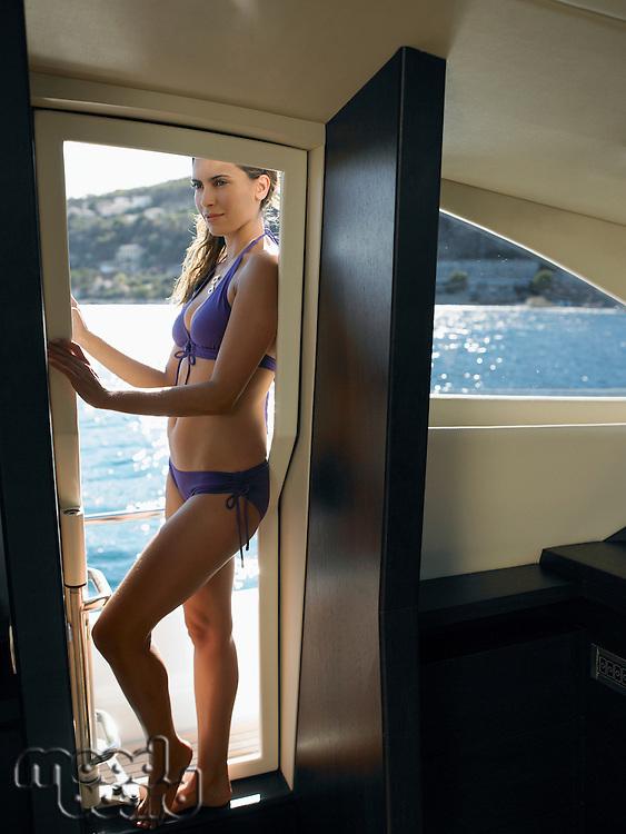 Woman Wearing Bikini on Yacht