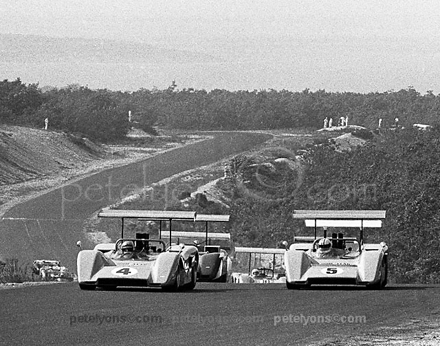 Bruce McLaren (4) and Denny Hulme (5) pace the start of the 1969 Bridgehampton Can-Am in their pair of McLaren M8Bs, the winged wonders that won every round of that year's record 11-race season.
