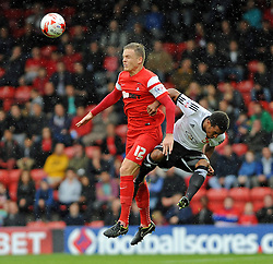 Leyton Orient's Shane Lowry wins header - photo mandatory by-line David Purday JMP- Tel: Mobile 07966 386802 - 04/10/14 - Leyton Orient  v Swindon Town - SPORT - FOOTBALL - Sky Bet Leauge 1  - London -  Matchroom Stadium