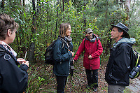 Evan Yanna Muru conducts ABORIGINAL BLUE MOUNTAINS WALKABOUT in the lower blue mountains of Faulconbridge. On the tour are Joe and Meg Boker from New Zealand and journalist Julica Jungehulsing. Grasses chewing are Mat-rush or Lomandra longifolia.
