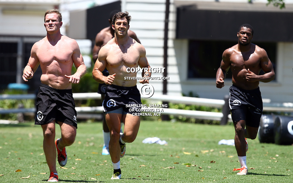 DURBAN, SOUTH AFRICA, November 20- 2015 - Michael Claassens with Paul Jordaan and S'bura Sithole during The Cell C Sharks Pre Season training for the 2016 Super Rugby Season at Growthpoint Kings Park in Durban, South Africa. (Photo by Steve Haag)<br /> Images for social media must have consent from Steve Haag