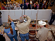 Jaycee volunteers snake handlers process western diamondback rattlers removing the skin during the 51st Annual Sweetwater Texas Rattlesnake Round-Up March 13, 2009 in Sweetwater, Texas. During the three-day event approximately 240,000 pounds of rattlesnake will be collected, milked and served to support charity.