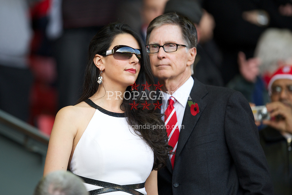 LIVERPOOL, ENGLAND - Saturday, November 5, 2011: Liverpool FC owner John W. Henry with his wife Linda Pizzuti during the Premiership match against Swansea City at Anfield. (Pic by David Rawcliffe/Propaganda)