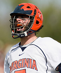 Virginia Cavaliers M/A Steve Giannone (5) celebrates a goal against Cornell.  The #1 ranked Virginia Cavaliers defeated the #4 ranked Cornell Big Red 14-10 at Klockner Stadium on the Grounds of the University of Virginia in Charlottesville, VA on March 8, 2009.