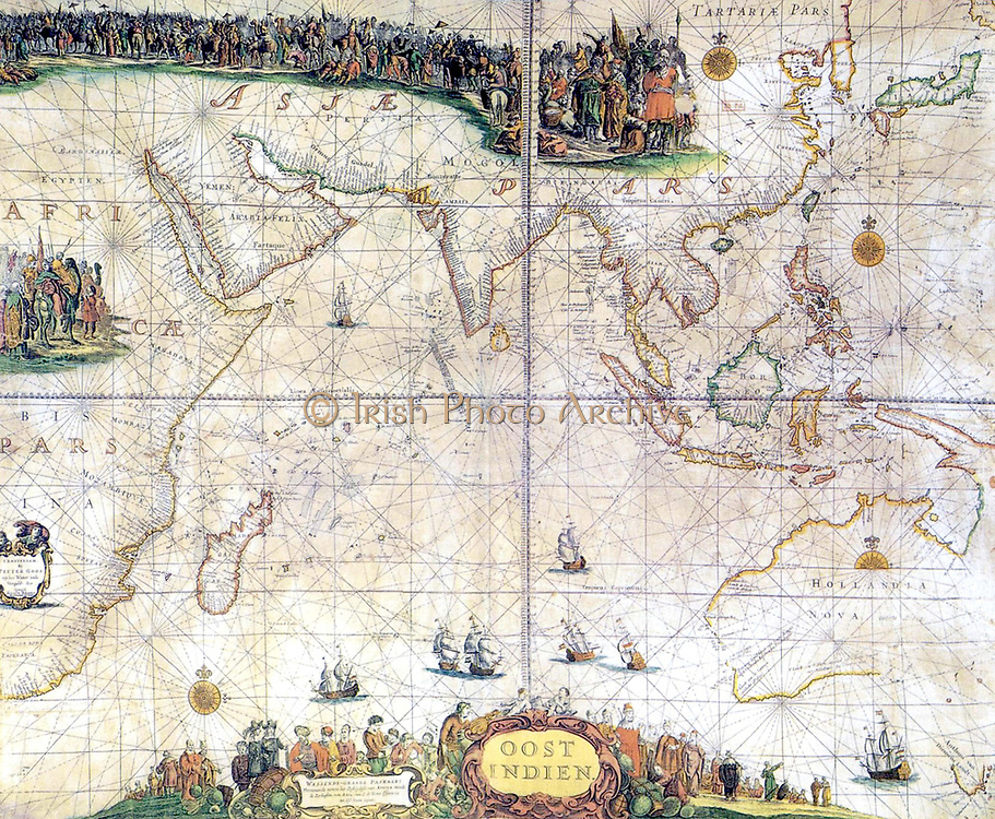 Map of the Indian Ocean, published in 1660  by Pieter Goos  (1616-1675) Dutch engraver and map maker.