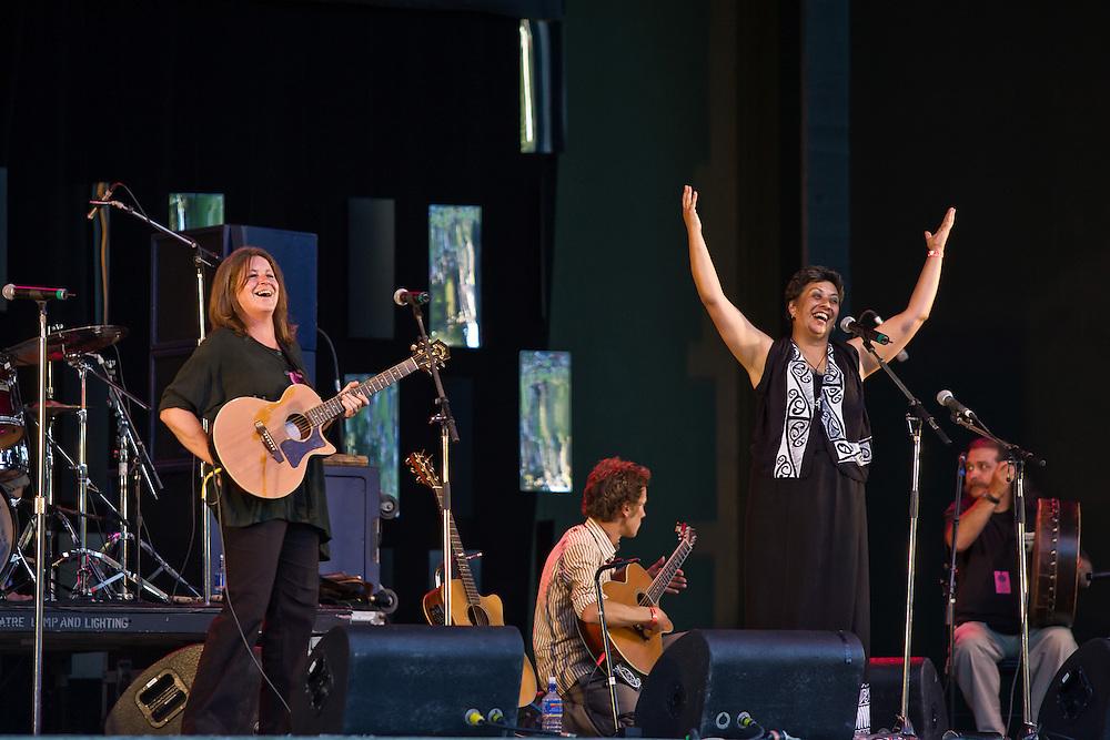 Mahinarangi Tocker performs at WOMAD Taranaki, on Saturday 12 March 2005.  Her band consist of Shona Laing, James Wilkinson, David Downes, Anahera Higgins, Denny Stanway and Jimmy Young.