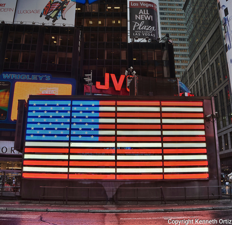 In shot of the American Flag in Times Square, New York City.