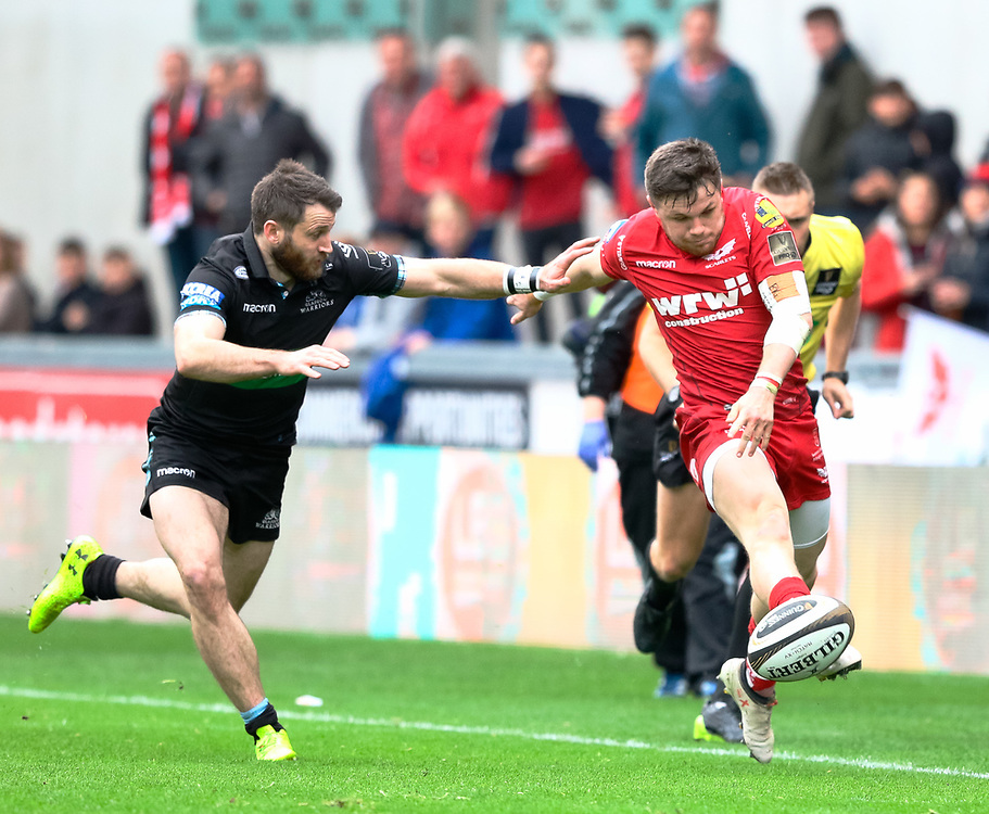 Scarlets' Steff Evans kicks ahead<br /> <br /> Photographer Simon King/Replay Images<br /> <br /> Guinness PRO14 Round 19 - Scarlets v Glasgow Warriors - Saturday 7th April 2018 - Parc Y Scarlets - Llanelli<br /> <br /> World Copyright © Replay Images . All rights reserved. info@replayimages.co.uk - http://replayimages.co.uk