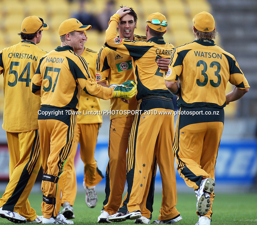 Austyralian captain Michael Clarke congratulates Mitchell Johnson for dismissing Peter Ingram.<br /> 1st Twenty20 cricket match - New Zealand v Australia at Westpac Stadium, Wellington. Friday, 26 February 2010. Photo: Dave Lintott/PHOTOSPORT