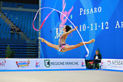 Neta Rivkin during qualifying at ribbon in Pesaro World Cup at Adriatic Arena on 11 April 2015. Neta was born on June 23, 1991 in Petah Tiqwa Israel. <br /> She is one of Israel's most successful rhythmic gymnasts.