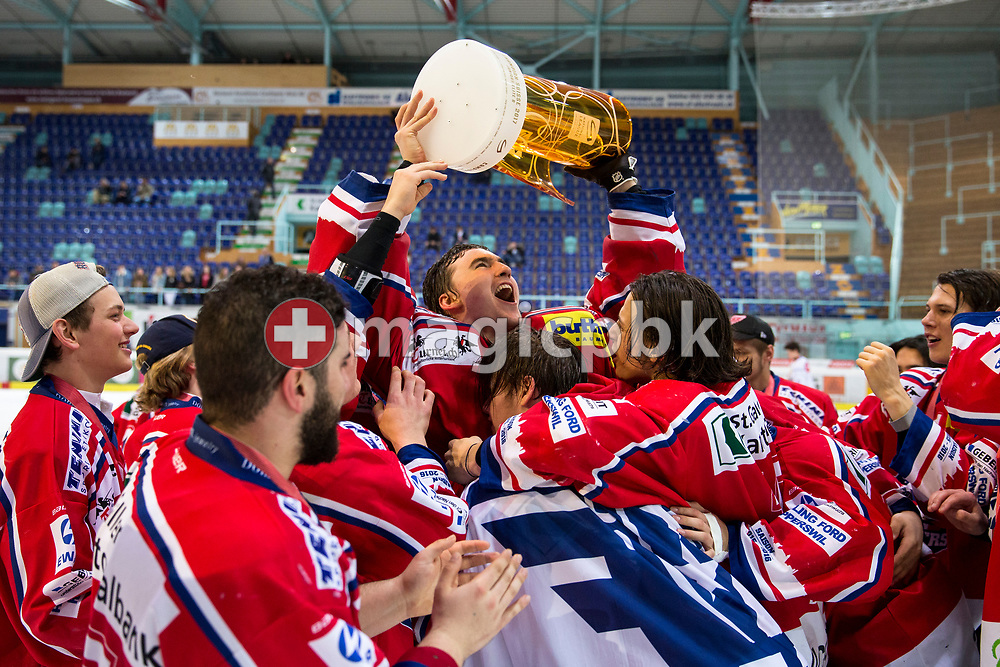 Rapperswil-Jona Lakers goaltender Beat Trudel holding the Swiss champion trophy and his teammates celebrate after winning the fifth Elite B Playoff Final ice hockey game between Rapperswil-Jona Lakers and ZSC Lions held at the SGKB Arena in Rapperswil, Switzerland, Sunday, Mar. 19, 2017. (Photo by Patrick B. Kraemer / MAGICPBK)