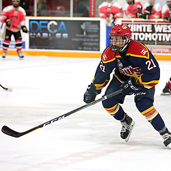 TRENTON, ON  - FEB 23,  2018: Ontario Junior Hockey League game between the Trenton Golden Hawks and the Wellington Dukes, Dawson Ellis #21 of the Wellington Dukes during the first period.<br /> (Photo by Ed McPherson / OJHL Images)