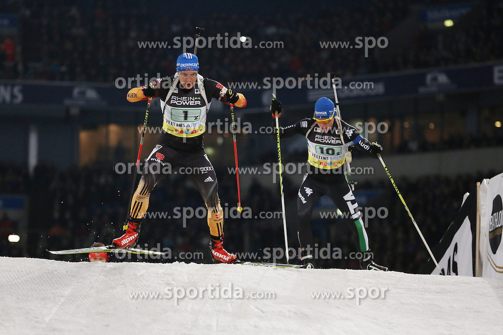 28.12.2013, Veltins Arena, Gelsenkirchen, GER, IBU Biathlon, Biathlon World Team Challenge 2013, im Bild Andreas Birnbacher (Deutschland / Germany) verfolgt von Lukas Hofer (Italien / Italy) // during the IBU Biathlon World Team Challenge 2013 at the Veltins Arena in Gelsenkirchen, Germany on 2013/12/28. EXPA Pictures &copy; 2013, PhotoCredit: EXPA/ Eibner-Pressefoto/ Schueler<br /> <br /> *****ATTENTION - OUT of GER*****