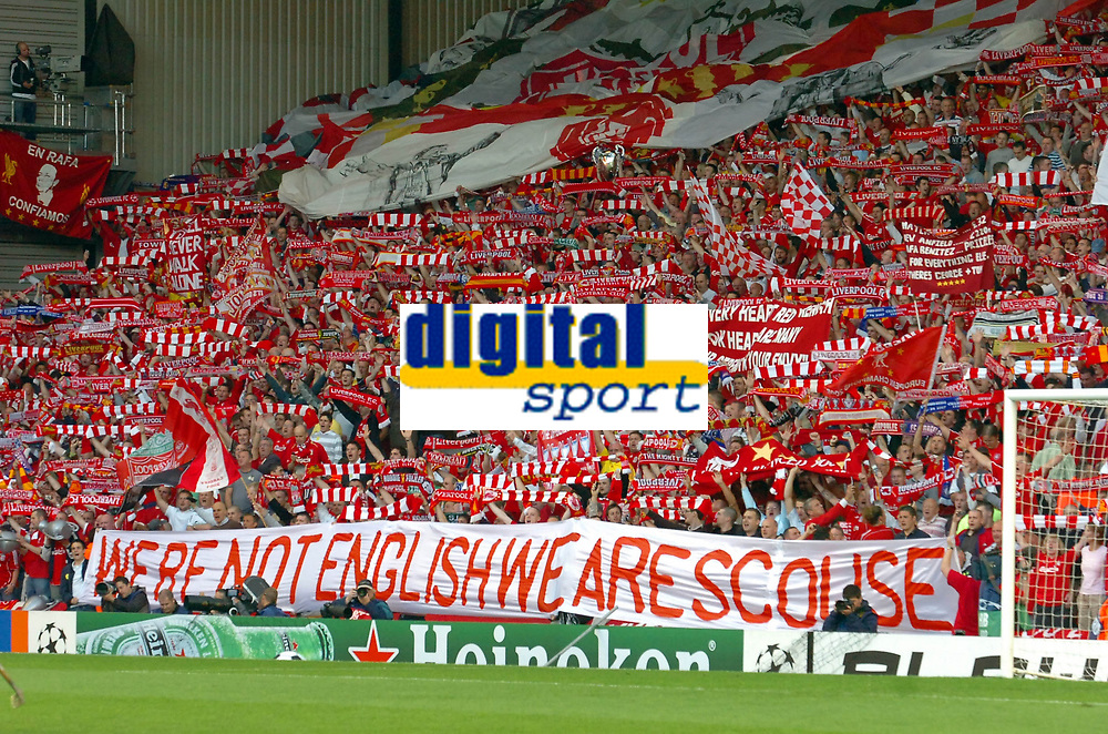 Fotball<br /> Semifinale UEFA Champions League<br /> Liverpool v Chelsea<br /> Foto: Fotosports/Digitalsport<br /> NORWAY ONLY<br /> <br /> Liverpool, England - Tuesday, May 1, 2007: Liverpool fans on the Spion Kop hold up a banner reading 'We're not English We Are Scouse' before the UEFA Champions League Semi-Final 2nd Leg match against Chelsea at Anfield.