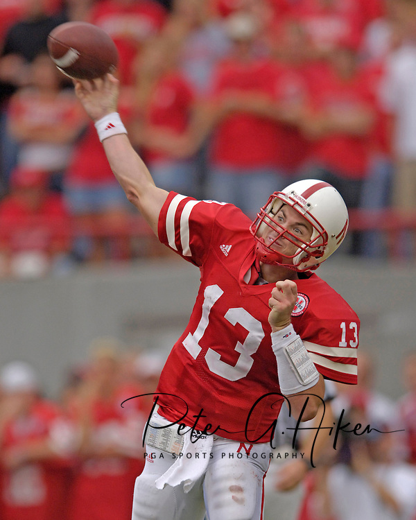 Nebraska quarterback Zac Taylor fires the ball down field during the second half against Iowa State.  The Huskers defeated Iowa State in double overtime 27-20 at Memorial Stadium in Lincoln, Nebraska, Oct. 1, 2005.