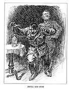 Jekyll and Hyde. (Hitler becomes mad and terrifying after drinking his 'Lust of Power' with his shade of Jekyll looking harmless in the background)