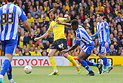 Watford Marco Motta on the ball during the Sky Bet Championship match between Watford and Sheffield Wednesday at Vicarage Road, Watford, England on 2 May 2015. Photo by Phil Duncan.