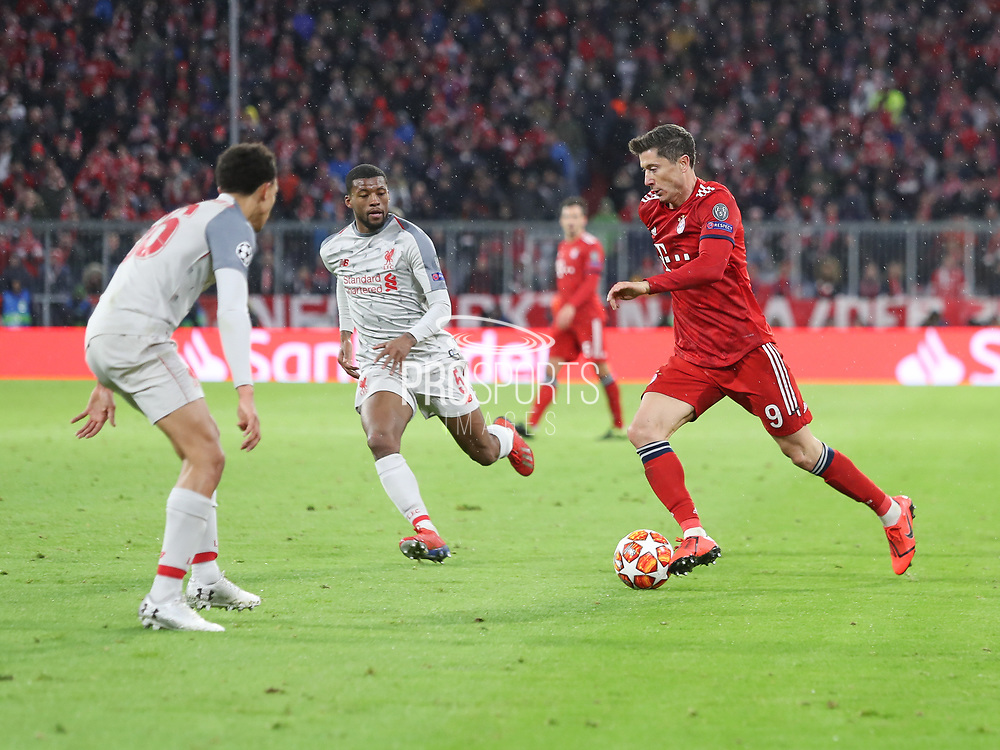 Robert Lewandowski of Bayern Munich with the ball during the Champions League round of 16, leg 2 of 2 match between Bayern Munich and Liverpool at the Allianz Arena stadium, Munich, Germany on 13 March 2019.
