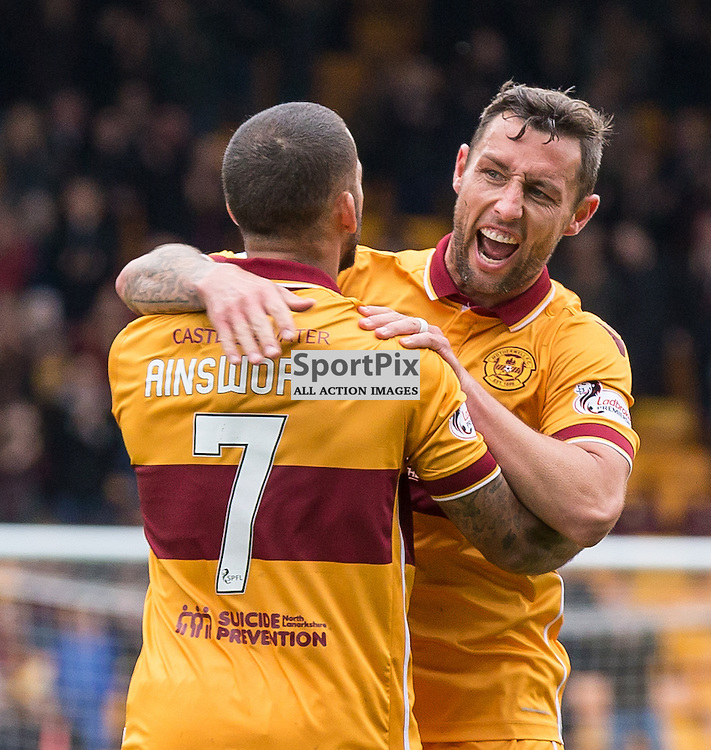 Lionel Ainsworth celebrates with Scott McDonald during the match between Motherwell and Ross County (c) ROSS EAGLESHAM | Sportpix.co.uk