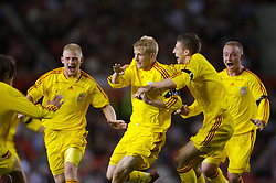 Manchester, England - Thursday, April 26, 2007: Liverpool's Robbie Threlfall (C) celebrates his goal with team-mates Michael Burns (L), Craig Lindfield and Ray Putterill (R) against Manchester United during the FA Youth Cup Final 2nd Leg at Old Trafford. (Pic by David Rawcliffe/Propaganda)