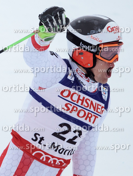 17.02.2017, St. Moritz, SUI, FIS Weltmeisterschaften Ski Alpin, St. Moritz 2017, Riesenslalom, Herren, 2. Lauf, im Bild Roland Leitinger (AUT, Herren Riesenslalom Silbermedaille) // men's Giant Slalom Silver medalistRoland Leitinger of Austria reacts after his 2nd run of men's Giant Slalom of the FIS Ski World Championships 2017. St. Moritz, Switzerland on 2017/02/17. EXPA Pictures © 2017, PhotoCredit: EXPA/ Johann Groder