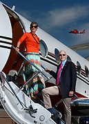 Arlington, VA 063016 Political pundits, public personalities and husband and wife duo of James Carville (cq) and Mary Matalin (cq) were photographed on June 30th, 2016 at the Signature Flight Support tarmac at Ronald Reagan Washington National Airport on June 30th, 2016 for an upcoming issue cover and article in Business Jet Traveler magazine.     (photo by Essdras M Suarez/ EMS Photography&copy;)<br /> <br /> on site Jennifer English with Business Jet Traveler Magazine